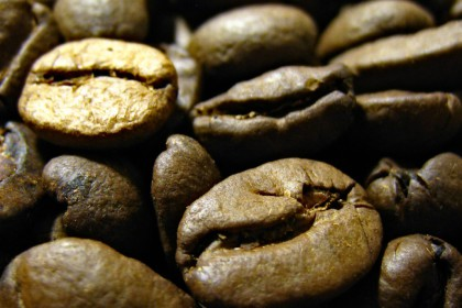 Closeup of coffee beans.
